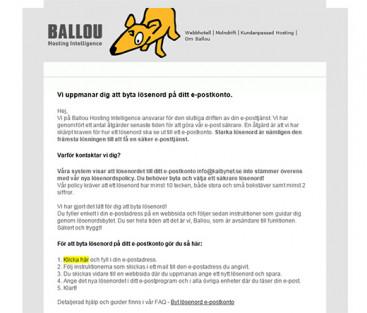 Byte av lösenord från Ballou - inget spam!